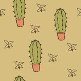 Cactus. Seamless texture of cactus in pots and flowers Vector Illustration