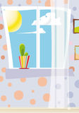 Cactus alla finestra di giorno Fotografie Stock Libere da Diritti