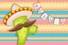 Cactus animé drôle dans le sombrero Images libres de droits