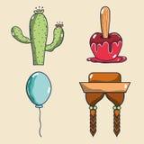 Cactus, apple, balloon and braids festa junina set icon. Vector illustration Royalty Free Stock Photo