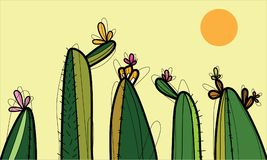 Cactus for background vector illustration
