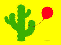 Cactus with balloon. Cactus with red tied balloon royalty free illustration