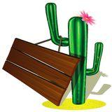 Cactus and billboard Stock Photography