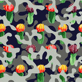 Cactus on the camo background in blue gray color Royalty Free Stock Images