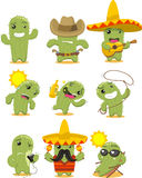 Cactus cartoon action set Stock Photo