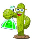 Cactus cartoon funny character chemist scientist experiment lab isolated. On white vector illustration
