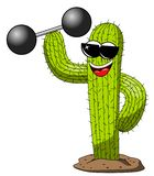 Cactus cartoon funny character cool weightlifter power isolated. On white stock illustration
