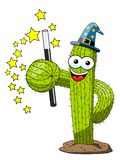 Cactus cartoon funny character magician sorcerer isolated. On white vector illustration