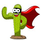 Cactus cartoon funny character supehero mask biceps isolated. On white stock illustration
