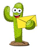 Cactus cartoon funny character vector envelope mail news isolated. On white royalty free illustration