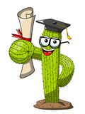 Cactus cartoon funny character vector graduated degree success isolated. On white vector illustration