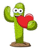 Cactus cartoon funny character vector heart love isolated. On white stock illustration