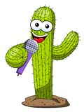 Cactus cartoon funny character vector microphone speaker presenter isolated. On white vector illustration