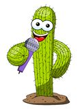 Cactus cartoon funny character vector microphone speaker singing isolated. On white stock illustration