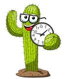 Cactus cartoon funny character vector nerd holding clock isolated. On white stock illustration