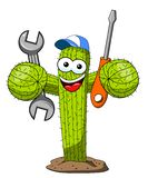 Cactus cartoon funny character vector repairman worker isolated. On white royalty free illustration