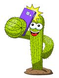 Cactus cartoon funny character vector smartphone selfie portrait isolated. On white vector illustration