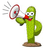 Cactus cartoon funny character vector speaking megaphone isolated. On white vector illustration