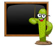 Cactus cartoon funny character vector teacher blackboard class education isolated. On white royalty free illustration