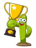Cactus cartoon funny character vector winner cup trophy isolated. On white vector illustration
