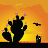 Cactus and castle with bat illustration Stock Image