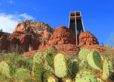 Cactus and the Chapel of Holy Cross Stock Photos