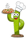 Cactus character mascot cartoon cook pizza vector isolated. On white royalty free illustration