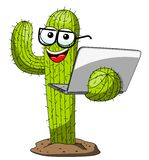Cactus character mascot cartoon nerd laptop vector isolated. On white vector illustration
