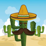 Cactus character with mexican hat Royalty Free Stock Photos