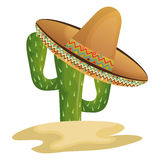 Cactus character with mexican hat Stock Images
