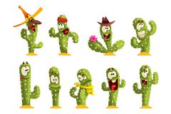 Cactus characters sett, funny cacti with different emotions vector Illustrations on a white background. Cactus characters sett, funny cacti with different royalty free illustration