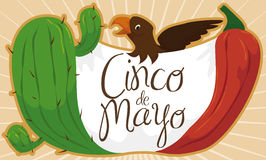 Cactus, Chili Pepper, Fabric and Eagle for Cinco de Mayo, Vector Illustration. Cartoon banner with traditional and festive elements forming Mexican flag, to Royalty Free Stock Photography