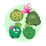 Cactus collection 1. Cute cactus character cartoon collection Royalty Free Stock Photos