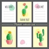 Cactus con efecto de la acuarela Imagenes de archivo