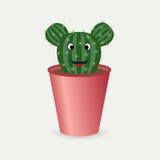 Cactus con gli occhi e la bocca Fotografie Stock
