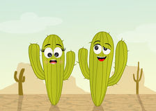 Cactus couple in the desert Royalty Free Stock Photos
