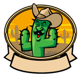 Cactus cowboy cartoon Royalty Free Stock Photos
