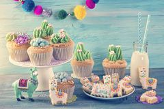 Cactus cupcake. S for children party royalty free stock image