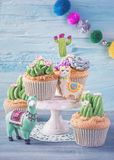 Cactus cupcake. S for children party stock image