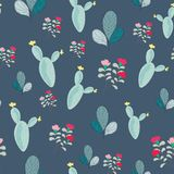 Cactus and cute plant seamless pattern royalty free stock images