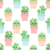 Cactus in cute pots seamless pattern. Simple cartoon plant vector illustration. Royalty Free Stock Image