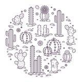 Cactus d'illustration de vecteur dans le désert éléments d'un logo d'entreprise Photo stock