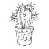 Cactus dans l'illustration noire et blanche de vecteur de griffonnage de bande dessinée de croquis de pot de fleurs Photo libre de droits