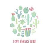 Cactus de cercle illustration stock