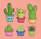 Cactus de Kawaii dans une conception de pot Images stock