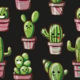 Cactus de Kawaii Texture sans couture avec Photo stock