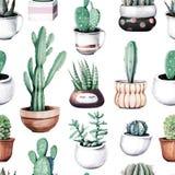 Cactus de la acuarela en modelo inconsútil del jardín tropical del pote stock de ilustración