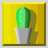Cactus de la historieta en un pote Imagen de archivo libre de regalías
