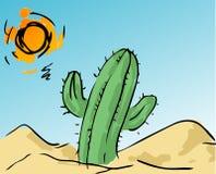 Cactus in de woestijn Royalty-vrije Stock Afbeelding