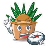 Cactus de zèbre de bande dessinée d'explorateur fleurissant dans le jardin illustration de vecteur